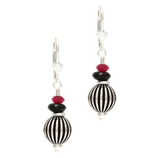 Charming Life Silver 'Graceful Earrings' Black Onyx and Ruby Jade Earrings