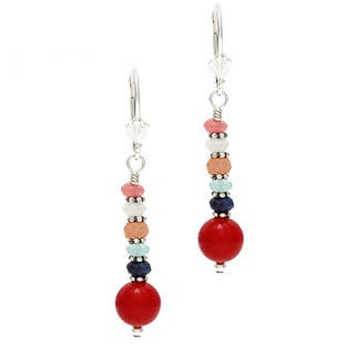 Charming Life Sterling Silver 'Life is a Carnival' Red Coral and Gemstones Stacked Earrings