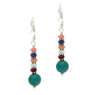 Charming Life Sterling Silver 'Southwestern Splash' Turquoise and Gemstones Stacked Earrings