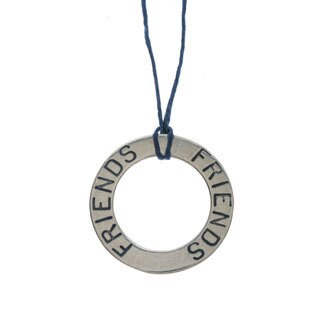 Charming Life Sterling Silver 'Circle Of Friends' Waxed Linen Thread Adjustable Necklace