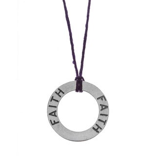 Charming Life Sterling Silver 'Circle Of Faith' Waxed Linen Thread Adjustable Necklace