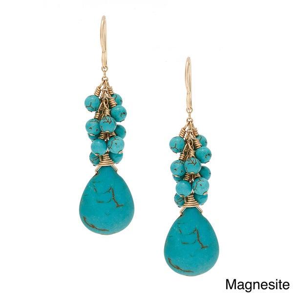 Lola's Jewelry Goldfill 'Living My Best' Magnesite Briolette Fringe Hook Earrings 11954970