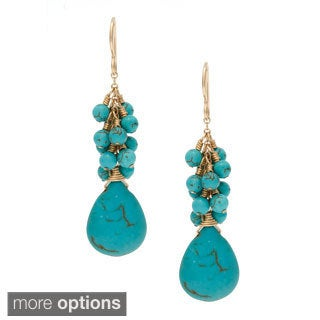 Charming Life 14k Goldfill 'Living My Best' Magnesite Briolette Fringe Hook Earrings