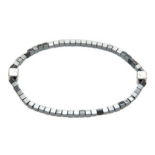 Charming Life Silver 'Dainty Cubes in Black' Hematite Unisex Stretch Bracelet