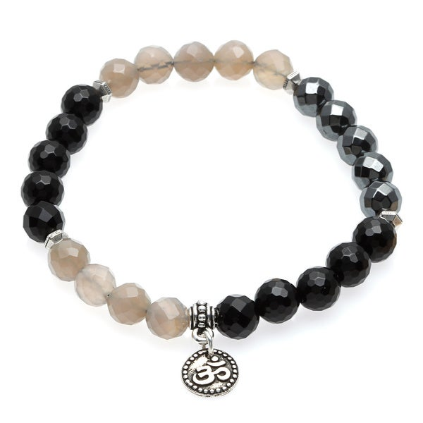 Charming Life Unisex 'Classy in Black' Grey and Black Onyx Omm Charm Stretch Bracelet