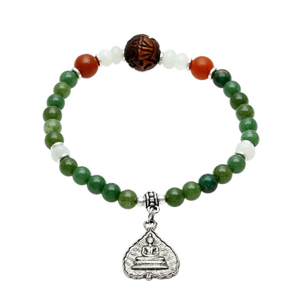 Charming Life Unisex 'Natural' Green Jade and Silver Buddha Charm Stretch Bracelet