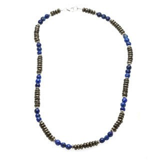 Charming Life 'Money and Good Luck' Pyrite and Blue Lapis Men's 20-inch Necklace