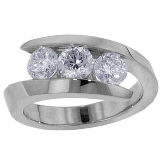 14k White Gold/ Platinum 1ct TWD 3-Stone Diamond Ring (F-G, SI1-SI2)