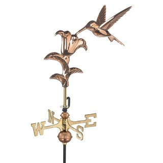 Polished Copper Hummingbird Garden Weathervane with Roof Mount
