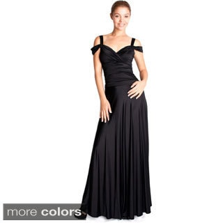 Evanese Women's Shiny Venezia Slip On Elegant Long Dress with Shoulder Bands