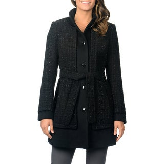 Ivanka Trump Women's Black Metallic Lurex Wool Coat