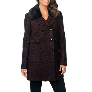 Ivanka Trump Women's Burgundy Tweed Wool Blend Coat