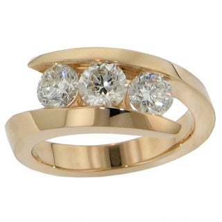 14k/ 18k Gold or Platinum 1ct TDW Diamond 3-stone Wedding Band (F-G, SI1-SI2)