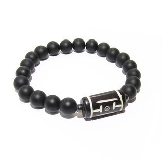 Tribal Spirit Dzi Bead and Matte Black Onyx Positive Energy Spiritual Bracelet