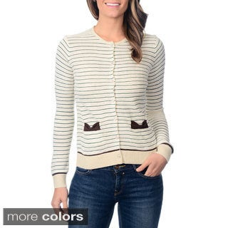 Yal Women's Striped Bow Pocket Cardigan