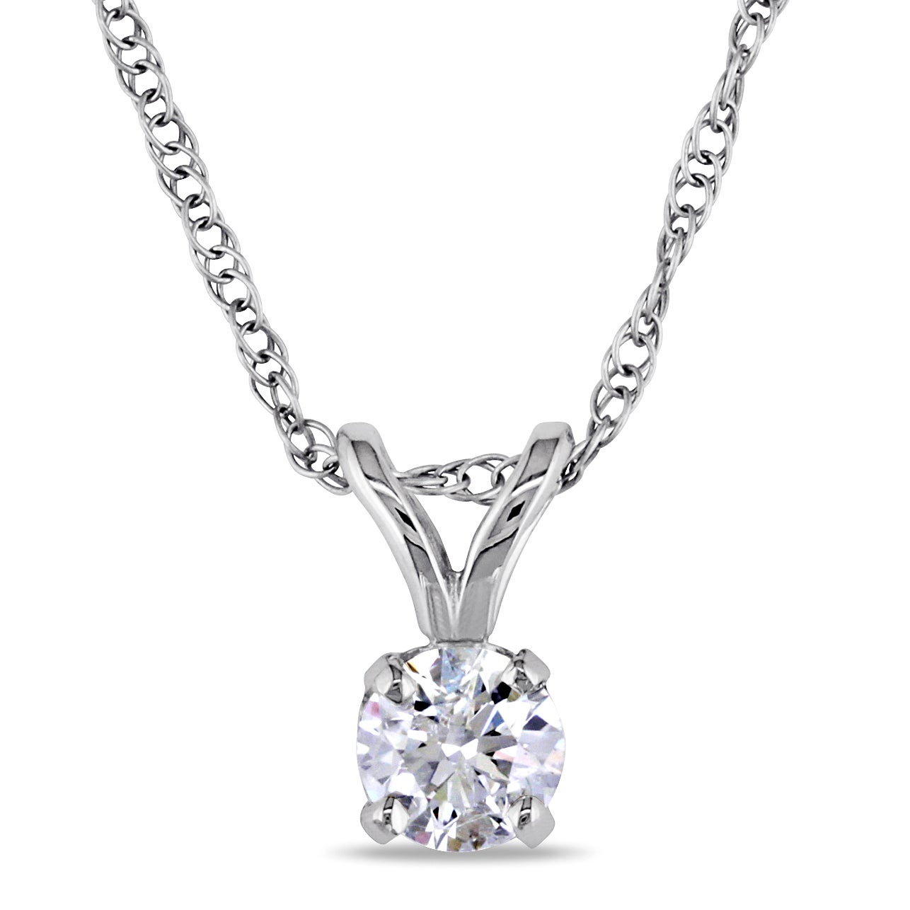 Miadora 14k White Gold 1/5ct TDW Certified Diamond Necklace (G-H, I1-I2) (IGL)