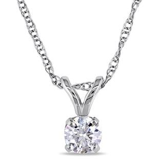 Miadora 14k White Gold 1/5ct TDW Certified Diamond Necklace (G-H, I1-I2) (IGL)