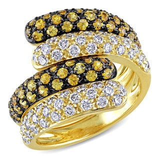 Miadora 18k Yellow Gold 1 1/5ct TDW Diamond and Yellow Sapphire Ring (F-G, VS)