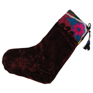 Refurbished Plum Suzani Vintage Christmas Stocking (Uzbekistan)