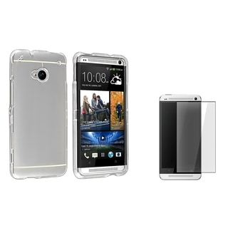 INSTEN Clear Snap-on Phone Case Cover/ Screen Protector for HTC Charger One M7