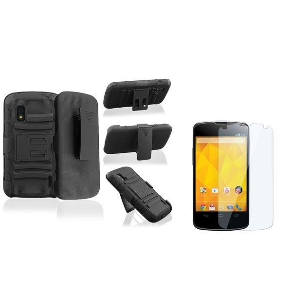 BasAcc Black/ Black Case with Stand/ LCD Protector for LG Nexus 4 E960