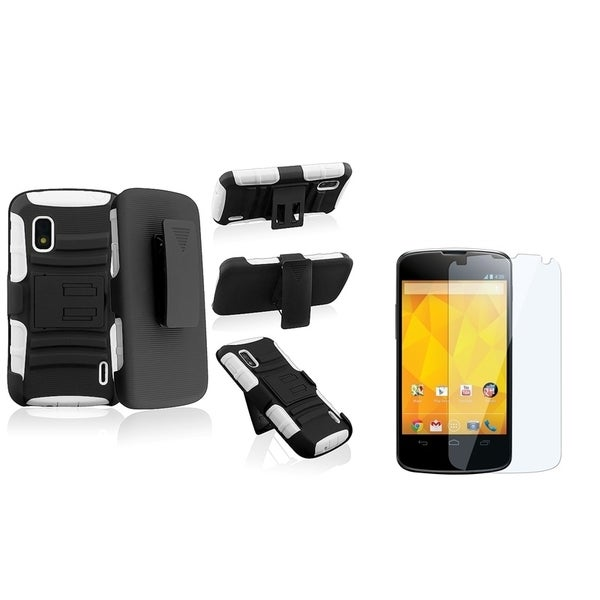 BasAcc White/ Black Case with Stand/ LCD Protector for LG Nexus 4 E960