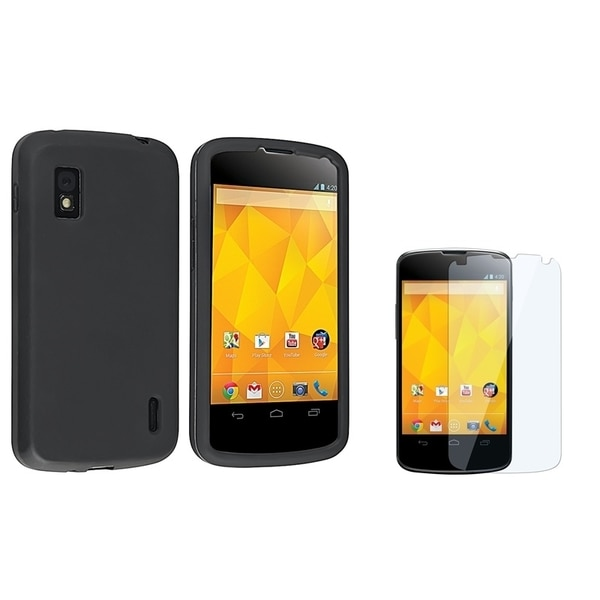 BasAcc Black Skin Case/ Screen Protector for LG Nexus 4 E960