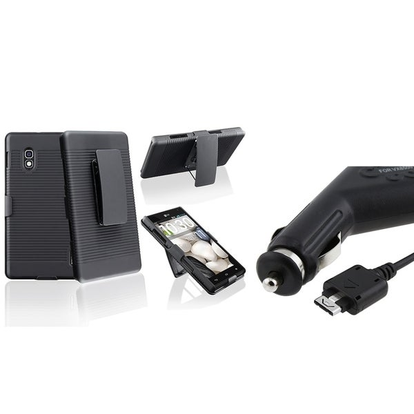 INSTEN Holster Phone Case Cover with Stand/ Car Charger for LG Optimus G E970