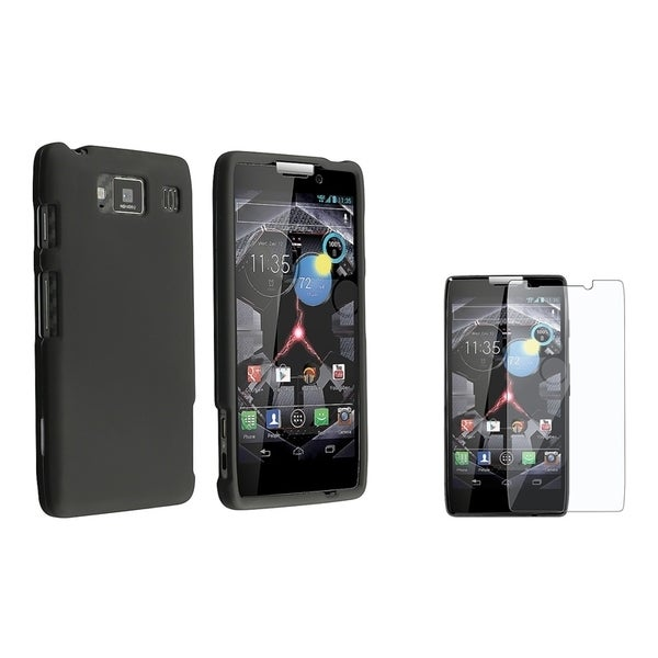 INSTEN Black Phone Case Cover/ LCD Protector for Motorola Droid Razr HD XT926