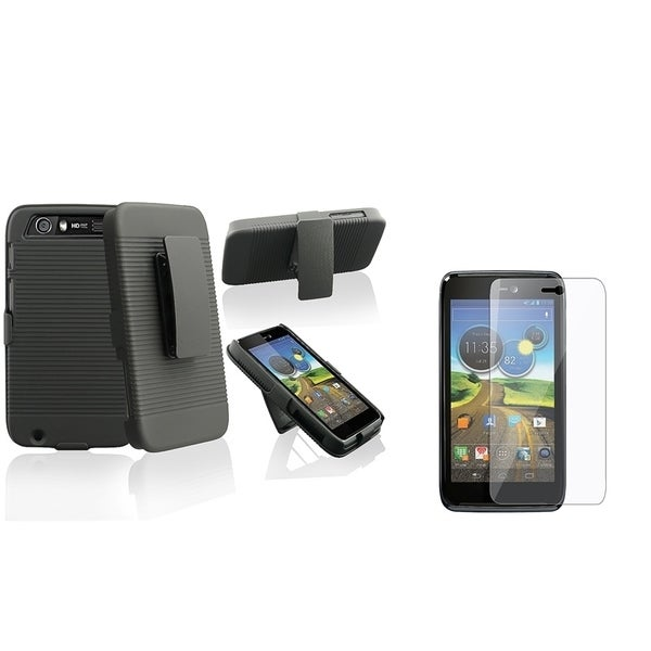 INSTEN Holster Phone Case Cover with Stand/ LCD Protector for Motorola Atrix 3 HD