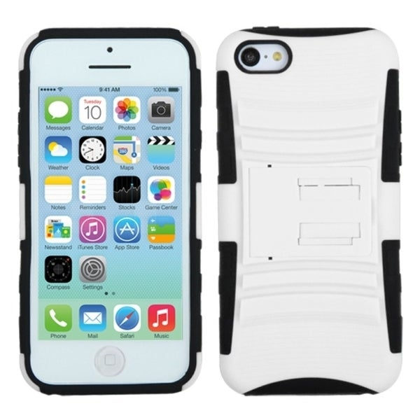 INSTEN White/ Black Advanced Armor Stand Phone Case Cover for Apple iPhone 5C