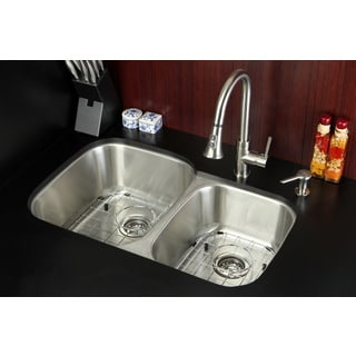 Undermount Stainless Steel 32-inch Double Bowl Kitchen Sink and Faucet Combo with Grid, Strainer and Soap Dispenser