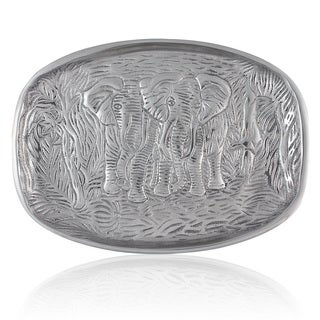 Handcrafted Pewter Elephants in the Jungle Oval Platter (India)