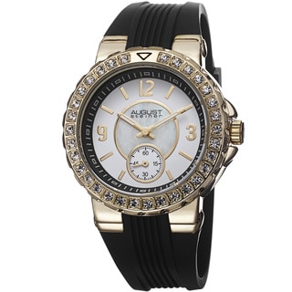 August Steiner Ladies Quartz Mother of Pearl/Matte Dial Silicon Water-resistant Strap Watch