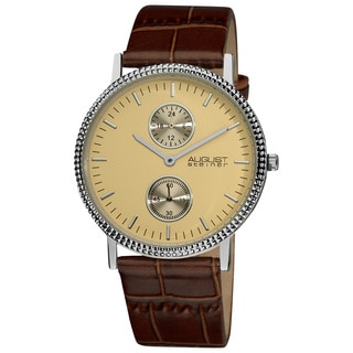 August Steiner Men's Slim 24 Hour Quartz Leather Strap Watch
