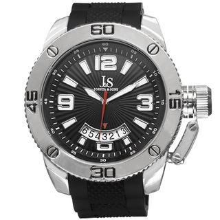 Joshua & Sons Bold Quartz Date Etched Sunray Dial PU Strap Water-resistant Watch