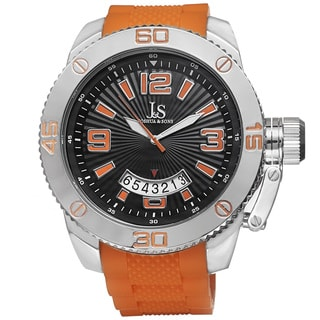 Joshua & Sons Bold Quartz Date Etched Sunray Dial PU Strap Watch