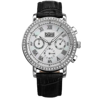 Burgi Ladies Crystal-accented Swiss Quartz Multifunction Genuine Leather Strap Watch