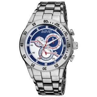 August Steiner Men's Blue-dial Swiss Quartz Chronograph Bracelet Watch