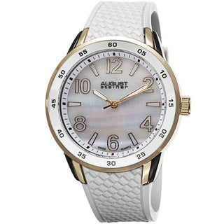 August Steiner Ladies Mother-of-pearl-dial Swiss Quartz Silicone-strap Water-resistant Watch