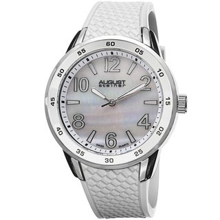 August Steiner Ladies Mother-of-pearl-dial Swiss Quartz White Silicone-strap Watch