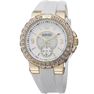 August Steiner Ladies Japanese-quartz Mother of Pearl/Matte Dial Silicon Strap Watch
