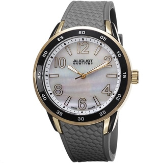 August Steiner Ladies Mother-of-pearl-dial Swiss Quartz Black Silicone-strap Watch