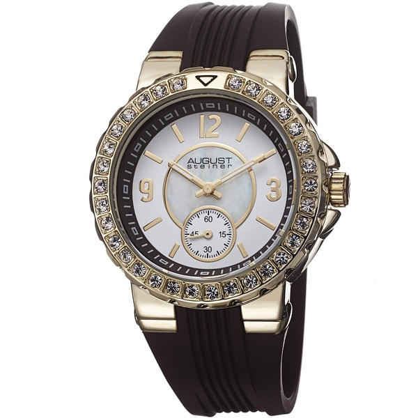 August Steiner Ladies Quartz Mother of Pearl/Matte Dial Silicon Strap Watch