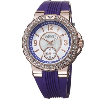 August Steiner Ladies Quartz Mother of Pearl/Matte Dial Purple Silicon Strap Watch