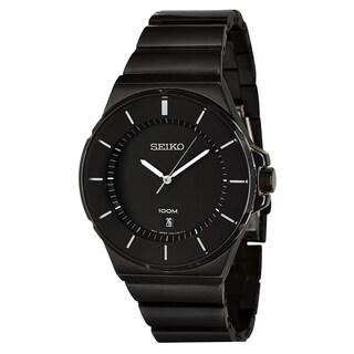 Seiko Men's 'Bracelet' Black Ion-plated Stainless Steel Quartz Watch