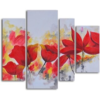 'Enflamed red petals' 4-piece Oil Painting