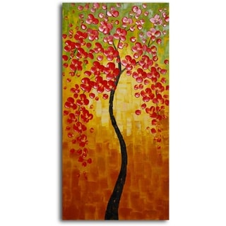 'Orange Petaled Twiglet' Hand Painted Oil Painting