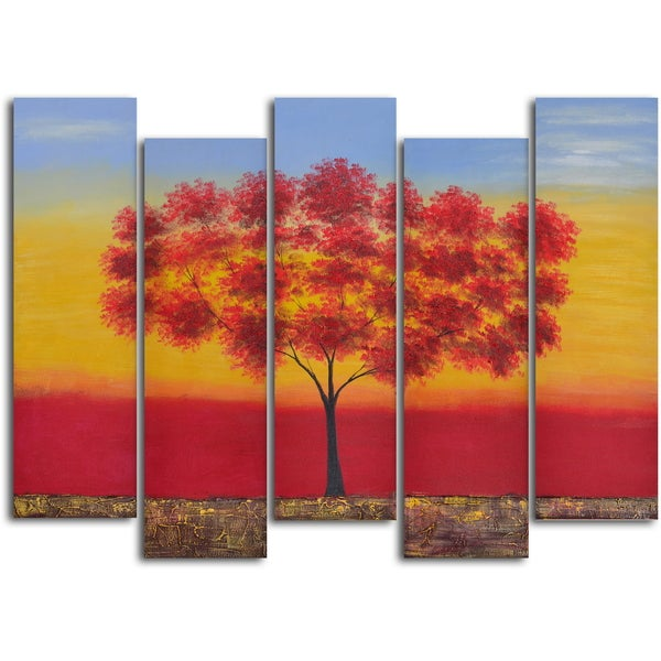 'Red tree quintet' 5-piece Hand Painted Oil Painting