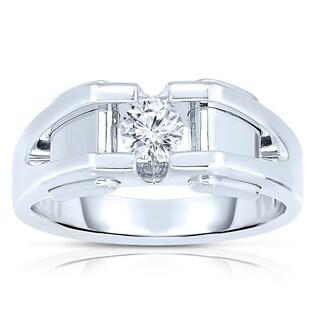10k White Gold Men's 3/8ct TDW Diamond Solitaire Bezel-set Ring (H-I, SI1-SI2)